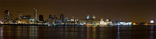 Panoramic Liverpool skyline by night Framed Mounted Print by Paul Farrell Photography