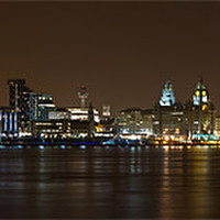 Buy canvas prints of Panoramic Liverpool skyline by night by Paul Farrell Photography