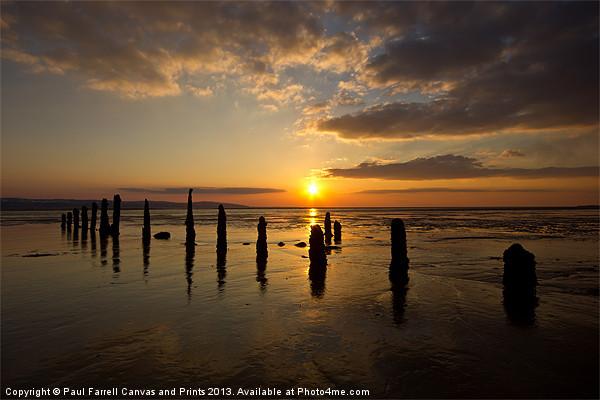 Caldy beach sunset Canvas print by Paul Farrell Photography