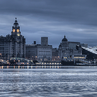 Buy canvas prints of Moody Liverpool skyline by Paul Farrell Photography