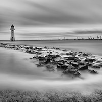 Buy canvas prints of High tide at Perch Rock lighthouse in New Brighton by Paul Farrell Photography