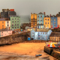 Buy canvas prints of Tenby Harbour and Georgian Houses by Martin Chambers