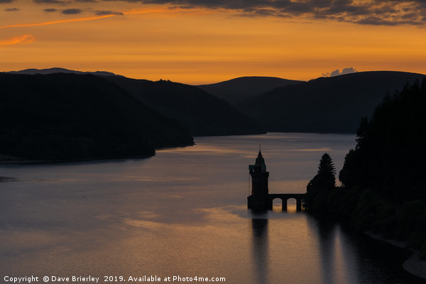 Sunset over Lake Vyrnwy, Wales Canvas print by Dave Brierley