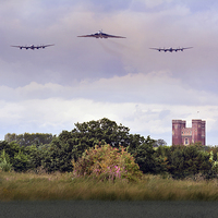 Buy canvas prints of  Avro Trio over Tattershall Castle by Jason Green