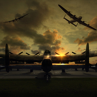 Buy canvas prints of  Sunset Lancaster Bombers by Jason Green