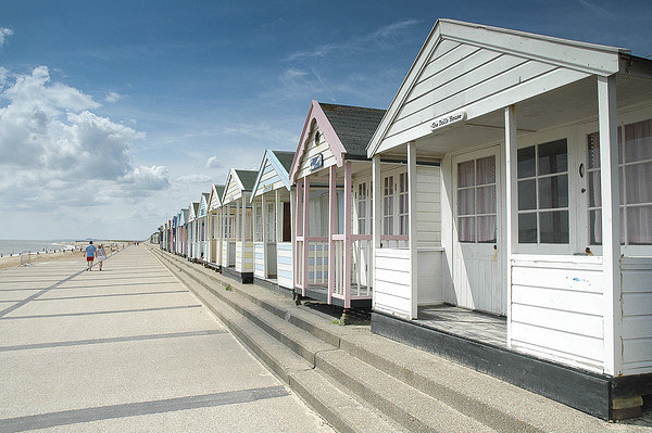 Beach Huts in Southwold, Suffolk Framed Mounted Print by David Woodcock