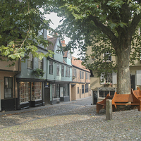 Buy canvas prints of Elm Hill, Norwich  by David Woodcock