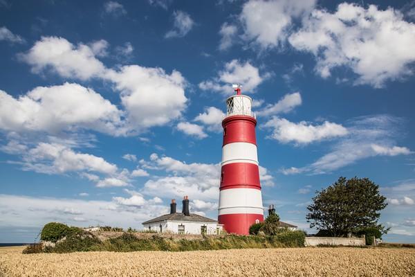 Happisburgh Lighthouse, Norfolk Print by David Woodcock