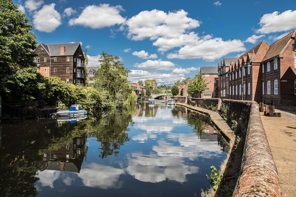 River Wensum, Norwich Canvas print by David Woodcock
