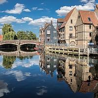 Buy canvas prints of Fye Bridge, Norwich  by David Woodcock