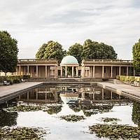 Buy canvas prints of Norwich, Eaton Park Bandstand by David Woodcock