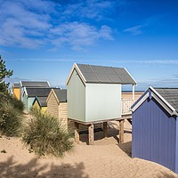 Buy canvas prints of Wells Next The Sea, Colourful Beach Huts  by David Woodcock