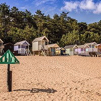 Buy canvas prints of Wells Next The Sea, Beach Huts   by David Woodcock