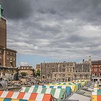 Buy canvas prints of  City Hall, Guild Hall & Market, Norwich by David Woodcock