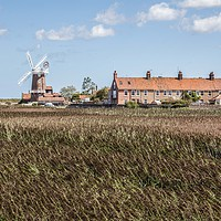 Buy canvas prints of Cley Windmill and Marshes, Norfolk by David Woodcock