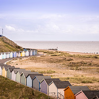 Buy canvas prints of  Beach Huts at Pakefield, Suffolk by David Woodcock