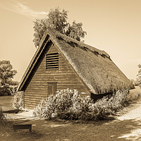 Buy canvas prints of Norfolk Broads, Thatched Boathouse by David Woodcock