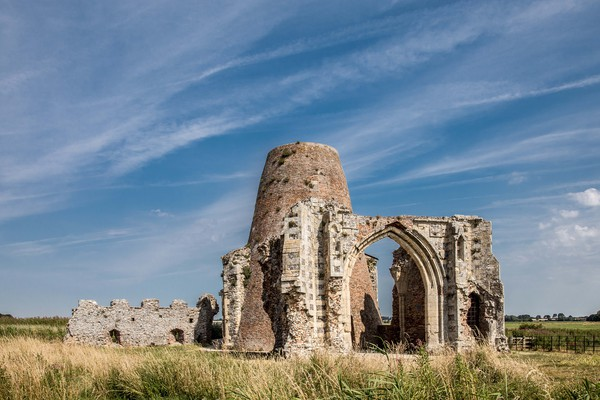 St Benets Abbey, Ludham Canvas print by David Woodcock