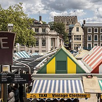 Buy canvas prints of Provision Market , Castle, Norwich by David Woodcock
