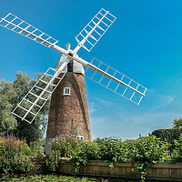 Buy canvas prints of Hunsett Mill, Stalham, Norfolk  by David Woodcock