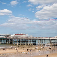 Buy canvas prints of Red Arrows, Cromer  by David Woodcock