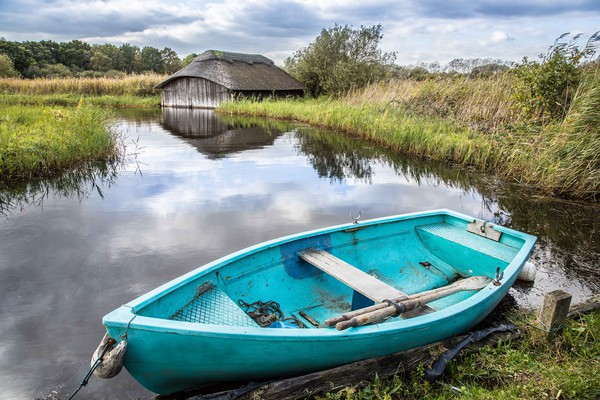 Boathouse, Hickling, Norfolk Canvas Print by David Woodcock