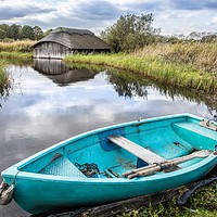 Buy canvas prints of Boathouse, Hickling, Norfolk by David Woodcock