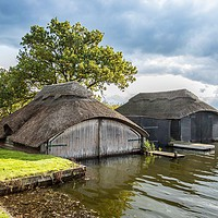 Buy canvas prints of Hickling Boathouses by David Woodcock