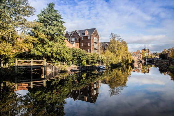 St James Mill and Quayside Buildings, Norwich  Canvas print by David Woodcock