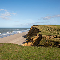 Buy canvas prints of Weybourne Cliffs and Beach, Norfolk by David Woodcock