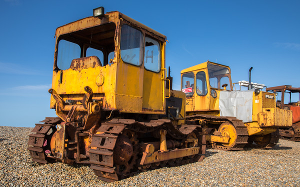 Tracked Vehicles, Weybourne Beach, Norfolk Canvas Print by David Woodcock