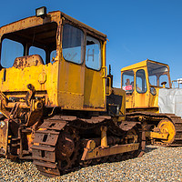 Buy canvas prints of Tracked Vehicles, Weybourne Beach, Norfolk by David Woodcock