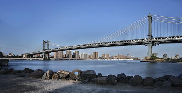 Manhattan Bridge Framed Mounted Print by Martin Patten