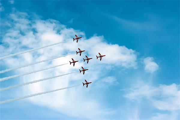 The Red Arrows Display Framed Print by Paul Madden