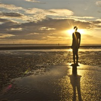 Buy canvas prints of Crosby beach sunbeams by Paul Madden