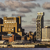 Buy canvas prints of Liverpool skyline at sunset by Paul Madden