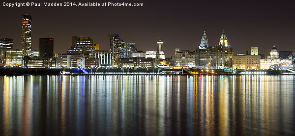Liverpool skyline in the night Framed Mounted Print by Paul Madden