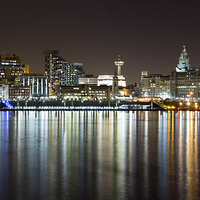 Buy canvas prints of Liverpool skyline in the night by Paul Madden
