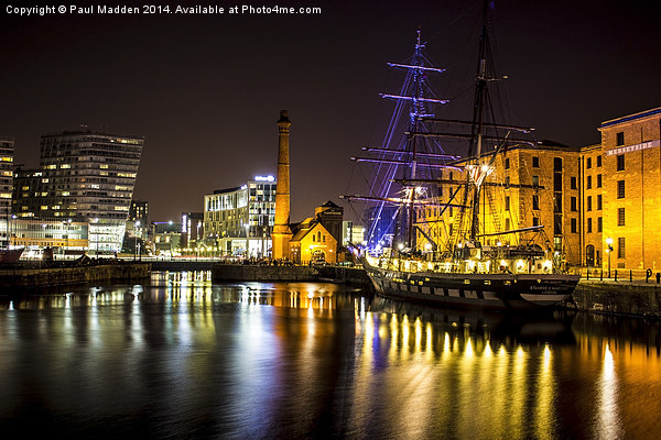 Canning Dock illuminated boat Canvas print by Paul Madden