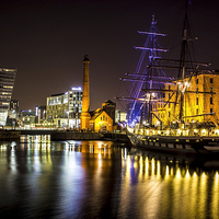 Buy canvas prints of Canning Dock illuminated boat by Paul Madden