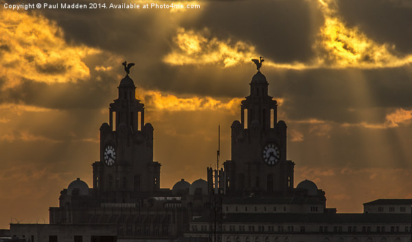 Orange sunset over the Liver Building Canvas print by Paul Madden