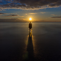 Buy canvas prints of Sunset at Crosby Beach by Paul Madden