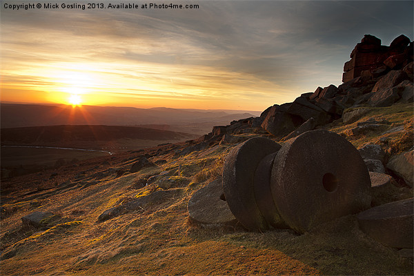 Stanage Edge Sunset Canvas print by Mick Gosling