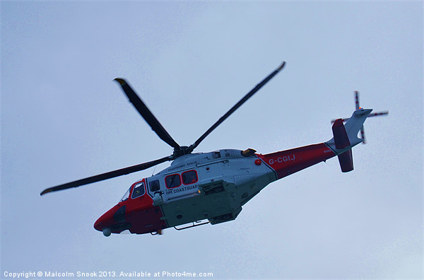 UK Coastguard Helicopter Canvas print by Malcolm Snook