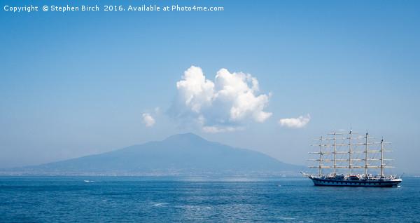 Boat and Vesuvius  Canvas print by Stephen Birch