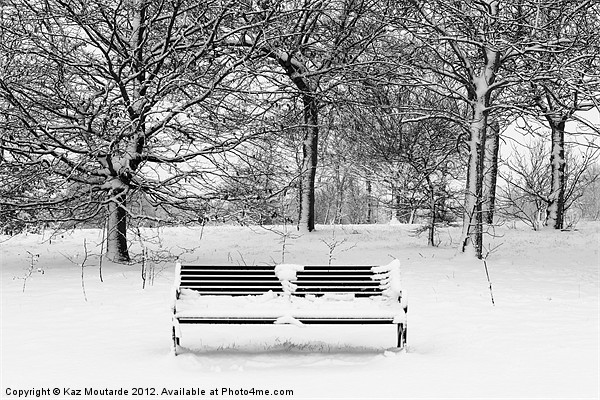Snow covered park bench Canvas Print by Kaz Moutarde