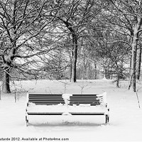 Buy canvas prints of Snow covered park bench by Kaz Moutarde