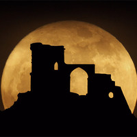Buy canvas prints of Mow Cop Super Moon by Peter J Bailey
