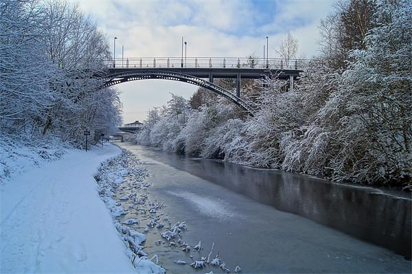 Bridge over frozen Sheffield Canal Framed Mounted Print by Darren  Galpin