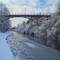 Buy canvas prints of Bridge over frozen Sheffield Canal by Darren  Galpin